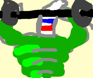 hulk lifting weights with a sock on his head
