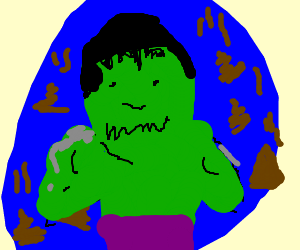 Hulk trapped in a blue ball filled with poop