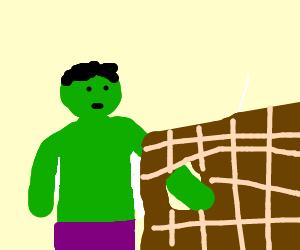 The Hulk breaks through a wall