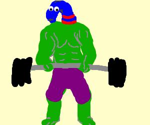 Sockheaded Hulk lifts weights
