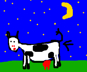 Naked cow farting to the moon.