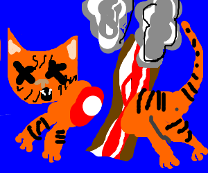 Burnt bacon severs orange cat in half.