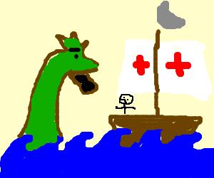 sea monster attacks sailor