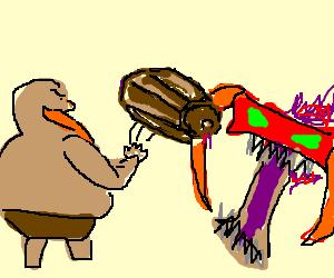 Gragas throwing his barrel at Cho'gath