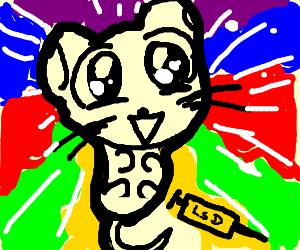 An anime mouse tripping hard on LSD