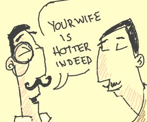two polite gentlemen sharing compliments