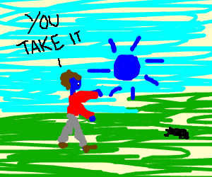 Blue man gives blue sun to a cockroach