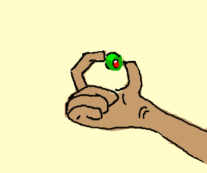 Finger squishes an olive