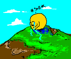 Pacman weeps on a grassy knoll