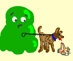 Goo Monster walks puking Dog.