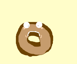 cross-eyed doughnut frowns at nothing