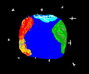 Earth has multicolored continents, no anarctica