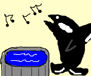 Whale singing a song next to a pool.