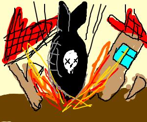 AN ATOM BOMB HAD FELL ON A HOUSE