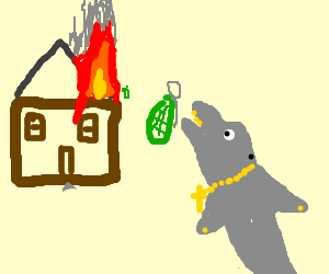 Blinged out dolphin blows up house with grenades