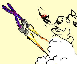 Cow spits a ninja baby to a Chromosome Rocket.