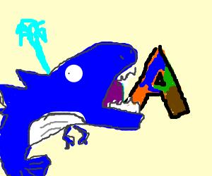 dinosaur whale eat orang blue green brown letter