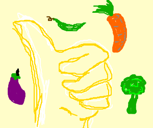 Shining hand approves vegetables!