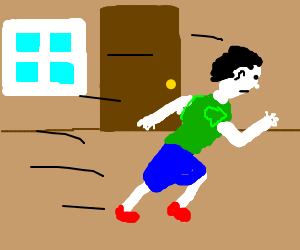White Man running in the middle of the room