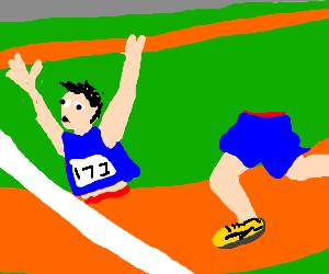 a man's torso beat his legs in a race