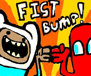 Finn of Adventure Time fist bumps Pacman Ghost