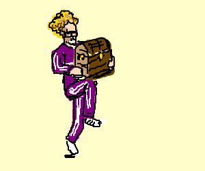 Andy Dick jogging with a treasure chest