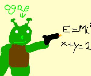 Shrek shoots gun that fires math equations
