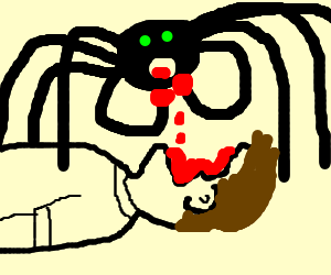 parasitic radioactive spider eats man's face