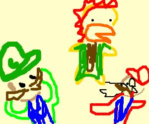 Luigi notices King Kupa cum on Mario