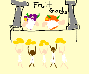people make gold offerings to the fruit gods