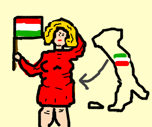 Fat italian blonde woman with wrong flag pattern