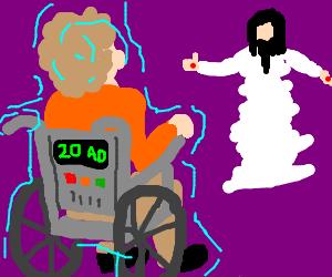 man uses wheel chair time machine to visit jesus