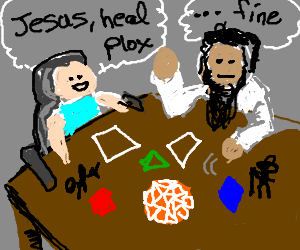 jesus casting healing spell on guy in wheelchair