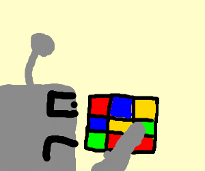robot is sad because he cannot solve rubix cube