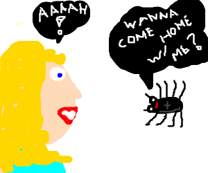 Woman afraid of spider asking her to go home w/ her