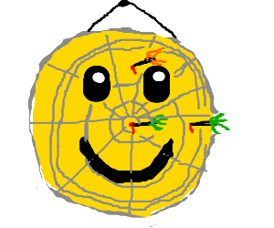 darts on a smiley