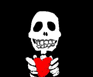 Skeleton holding a heart