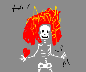 """flaming skeleton with heart in hand waves: """"Hi!"""""""