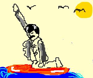 Freddie Mercury on a surf board