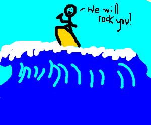 Freddie Mercury rocking out on a surfboard