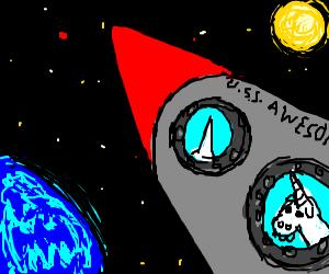 Awesome unicorn rocketship explores space