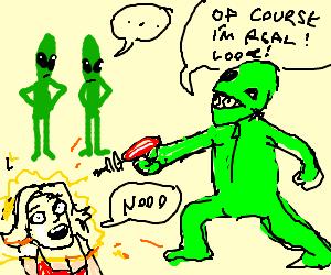 green aliens watch an imposter shoot a human