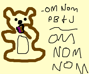 Teddy bear eating PB&J