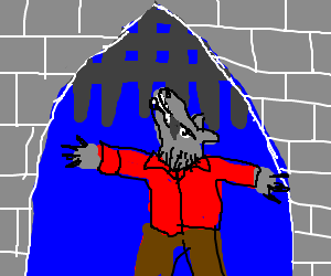Wolfman clings by his teeth to rising portcullis
