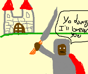 Black man in a knight costume threatens a castle