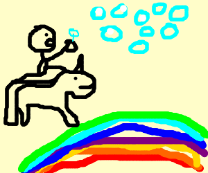 Bubble-blowing Tourist Unicorn Rides Rainbow