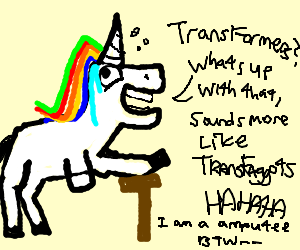 Rainbow amputee unicorn mocks Transformer names