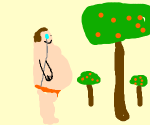 Tubby aristocrat in speedo visits orange orchard