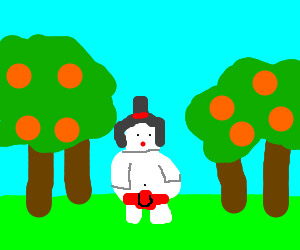 white sumo walks through orange forest