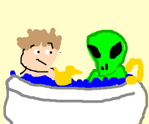 Man unwillingly shares bath with an alien